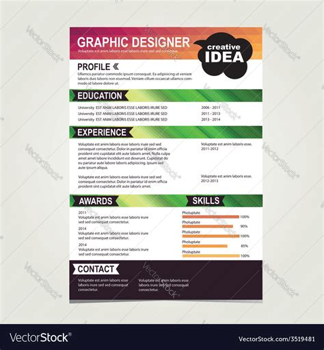 resume template cv creative background royalty free vector