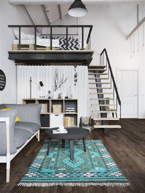 Chic Scandinavian Studio With Lofted Bed by ロフトベッドの下はwic 色づかいが参考になる北欧コーディネートのお部屋 Style4 Decor