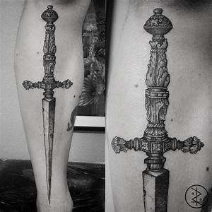 Beautiful Dot Work Dagger  Tattoo  Dotwork  Dagger