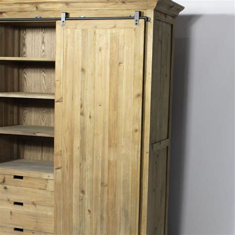 armoire vieux pin recycle  porte coulissante