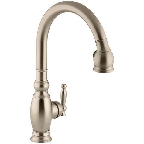 brushed bronze kitchen faucets kohler vinnata single handle pull sprayer kitchen