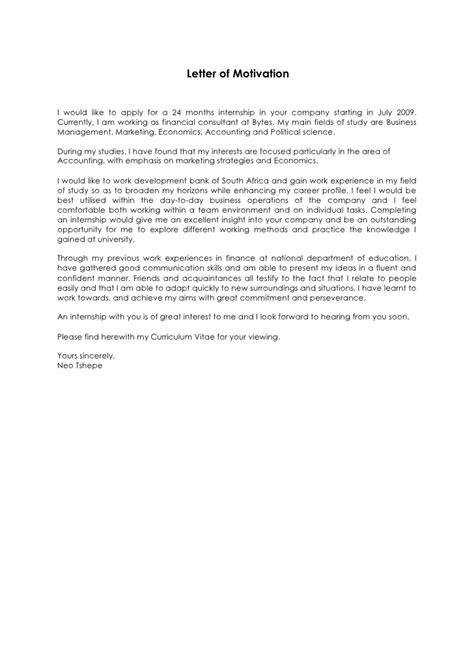 sample  motivation letter  internship application