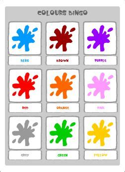 colours vocabulary  esl kids matching game colours