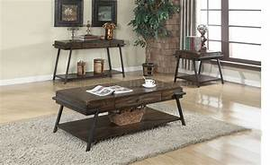macall 82270 3pc coffee table set in dark oak by acme With dark oak coffee table sets