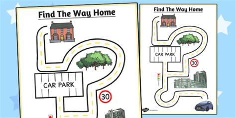 find the way home maze sheet maze sheet find way home worksheet
