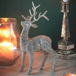 silver, reindeer, christmas, table, decoration, by, the, christmas, home