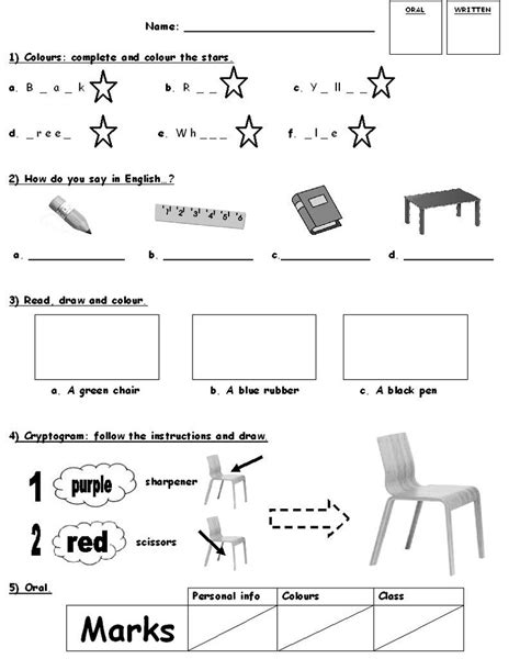 english worksheet  grade  easy loving printable