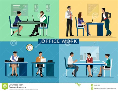 People Working On Computer Flat Icons Vector Illustration