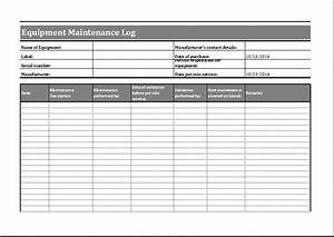 equipment maintenance log template word excel templates With maintenance log book template free