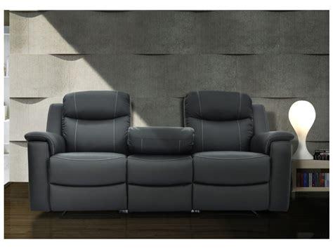 canapé avec relax canapés relax evasion en cuir gris ou blanc ivoire
