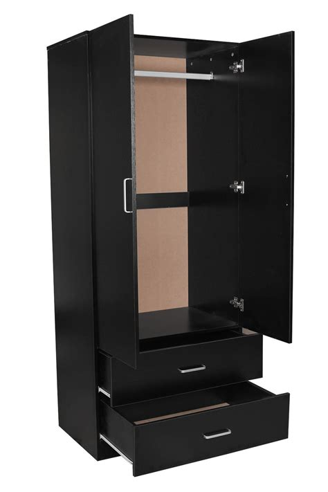 Buy Black Wardrobe by Redfern 2 Door 2 Drawer Wardrobe Storage Cabinet Black