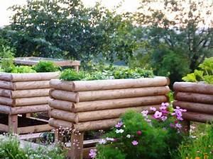 Jardinière En Hauteur : jardini re 1 2 rondins horizontaux 200x100x57 surelev e ~ Nature-et-papiers.com Idées de Décoration