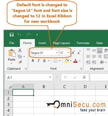 change  default font  size  excel