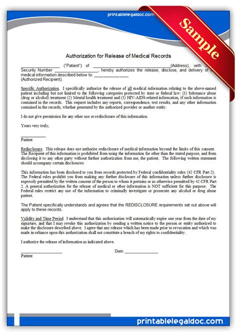 printable authorization  release  medical
