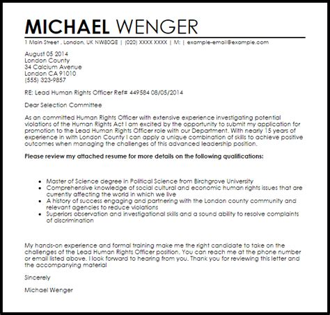 human rights officer cover letter sample cover letter templates examples
