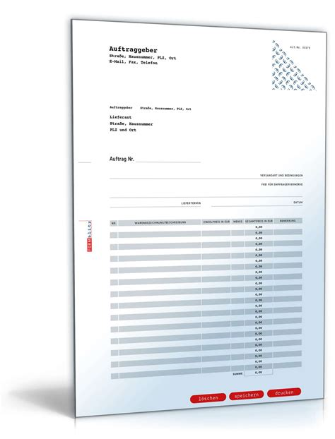 bestellformular muster zum