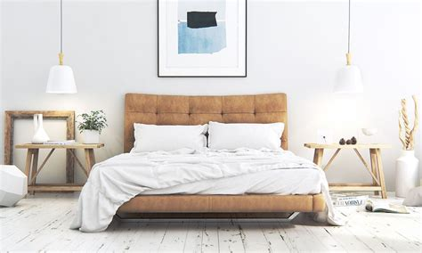 bedroom modern scandinavian bedroom features suede upholstered platform bed also wooden