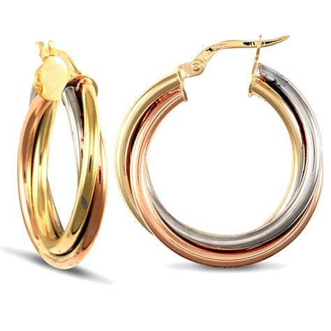 russian wedding ring earrings 9ct 3 colour gold russian wedding ring 4mm hoop earrings 25mm ebay