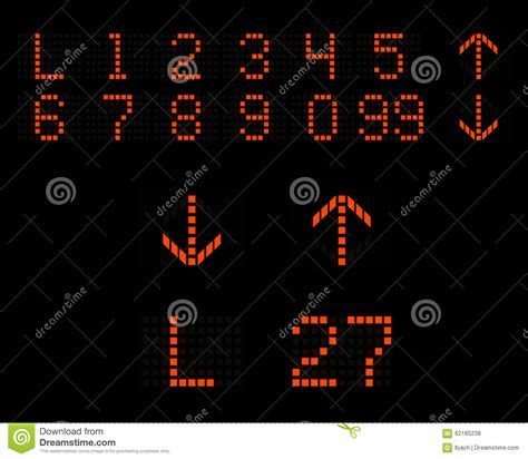 Chrome Touch Lamp by Elevator Numbers Arrows Led Indicator Stock Illustration