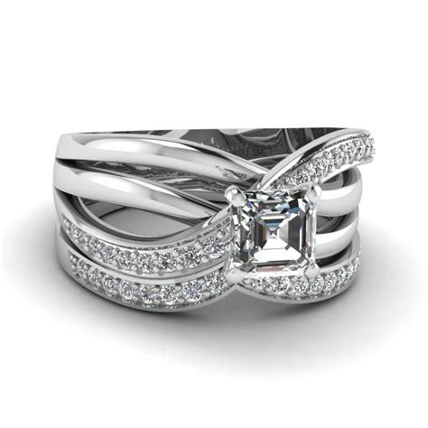 multi cross band asscher diamond wedding ring in 14k white gold fascinating diamonds