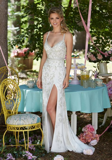 prom dress featuring  deep  neckline style  morilee