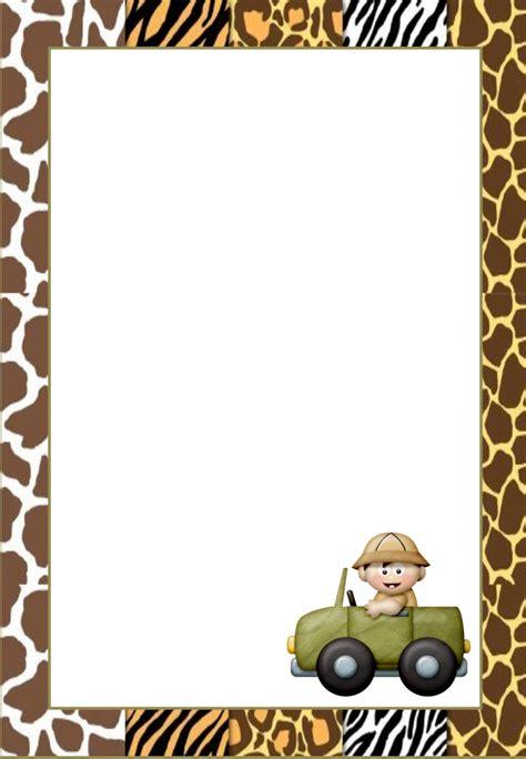 jungle babies  printable frames invitations cards