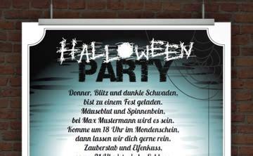 drucke selbst kostenlose einladung zur halloweenparty zum