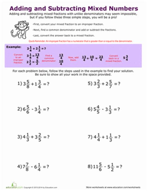 adding and subtracting mixed numbers worksheet
