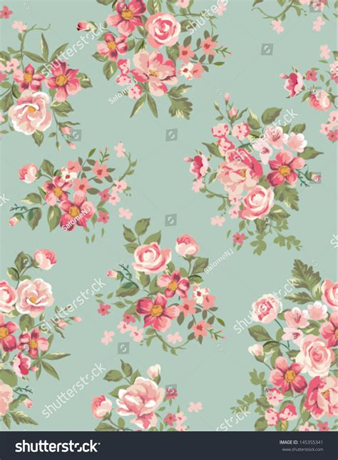 vintage floral flower seamless pattern background stock