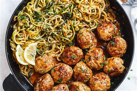 kitchen improvement ideas garlic butter turkey meatballs with lemon zucchini noodles