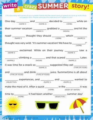 story summer worksheet education
