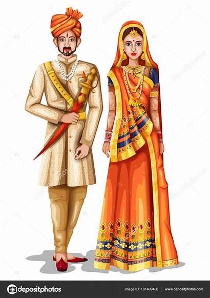 Rajasthani Traditional Couple Rajasthan Costume India Illustration