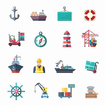 Port Sea Icons Vector Illustration Flat Isolated