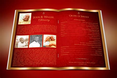 red gold dignity funeral program publisher template  behance