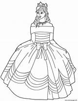 Coloring Pages Princess Ball Dress Gown Printable Drawing Shoulder Gowns Dresses Template Sketch sketch template