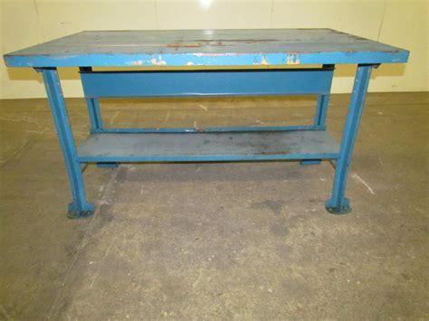 Vintage Industrial Butcher Block Workbench Table Reloading