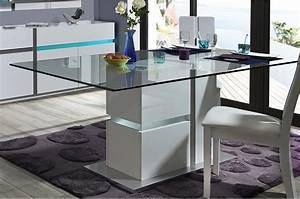 Table A Manger Led : table manger en verre rectangulaire pied blanc laqu led pour salle manger ~ Melissatoandfro.com Idées de Décoration