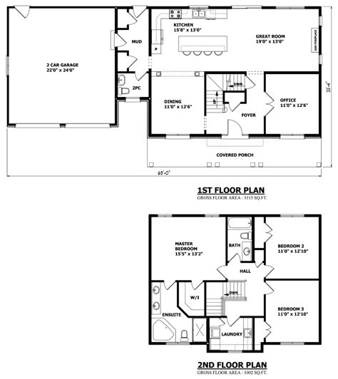 Two Story Floor Plans Canadian Home Designs Custom House Plans Stock House Plans Garage Plans