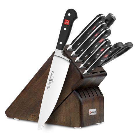 wusthof classic knife block set  piece walnut cutlery