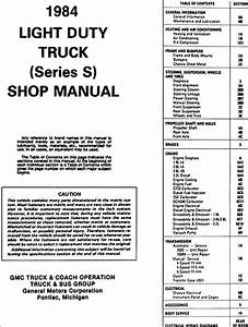 1984 Gmc S 15 Pickup And Jimmy Repair Shop Manual Original