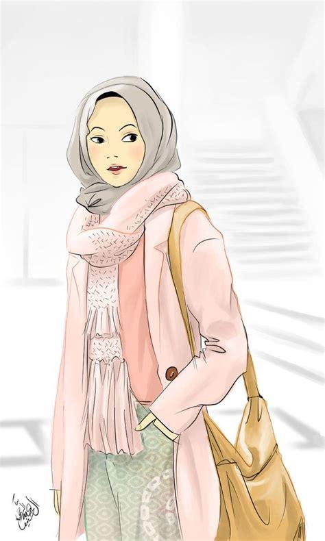 wanita muslimah wallpaper hijab kartun keren wallpaper hd