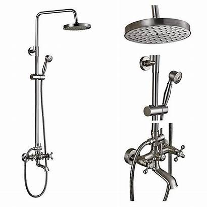 Shower Faucet Nickel Brushed Tub Mount Rain