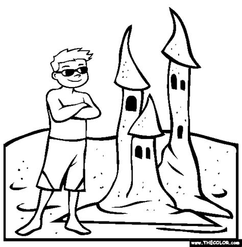 Coloring With Sand by Sand Castle Clip Black And White Coloring Page