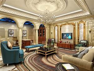 European-style luxury living room ceiling decoration