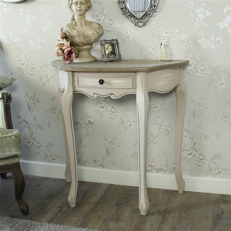 shabby chic half moon table grey wood half moon console hall table shabby french chic country furniture home ebay