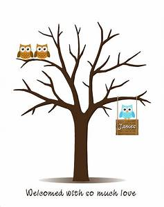 baby shower guest book fingerprint tree with owl family With baby shower thumbprint tree template