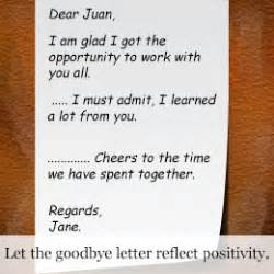 write  perfect goodbye letter    worker