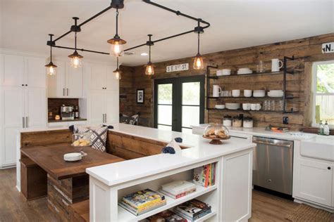 Updated Kitchens Ideas - fixer upper mid century lighting the harper house