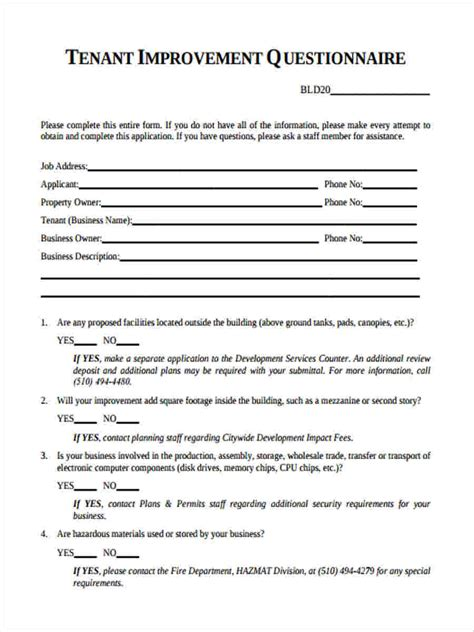 sample tenant questionnaire forms  ms word