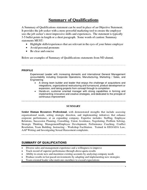 Summary Statement On Resume How To Write A